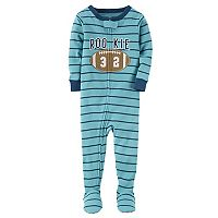 Baby Boy Carter's Embroidered Striped Footed Pajamas