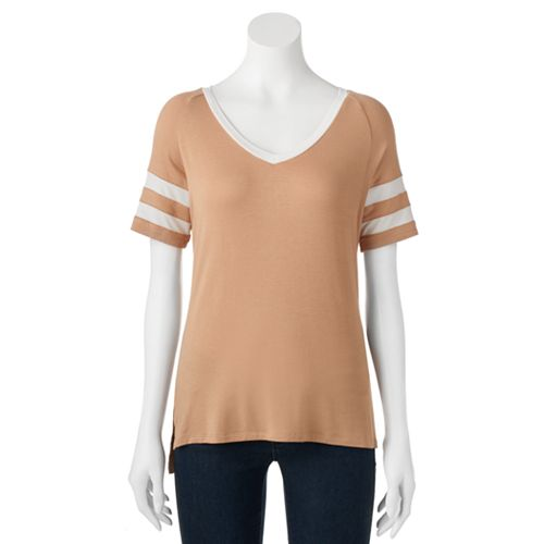 Juniors' Love, Fire Striped Sporty Tee