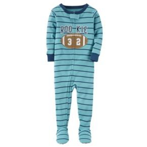 Toddler Boy Carter's Embroidered Striped Footed Pajamas