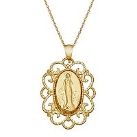 Everlasting Gold 10k Gold Filigree Virgin Mary Pendant Necklace