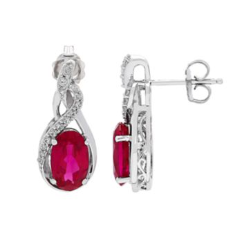 Sterling Silver Lab-Created Ruby & Lab-Created White Sapphire Swirl Earrings