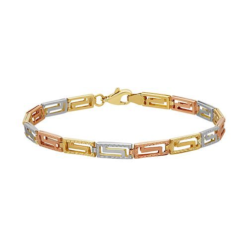 Everlasting Gold Tri Tone 10k Gold Reversible Greek Key Bracelet