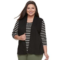Plus Size Cathy Daniels Stripe Top & Vest 2-for-1 Top