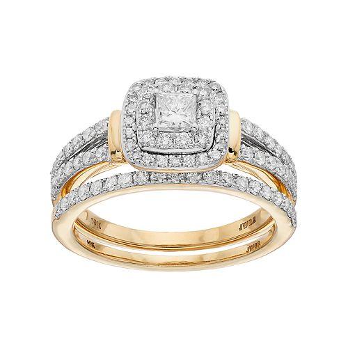 Lovemark 10k Gold 1 Carat T.W. Diamond Square Halo Engagement Ring Set