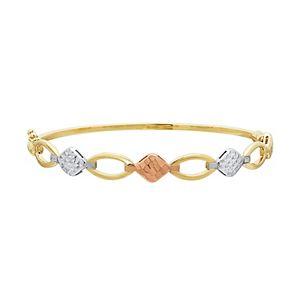 Everlasting Gold Tri Tone 10k Gold Geometric Bangle Bracelet