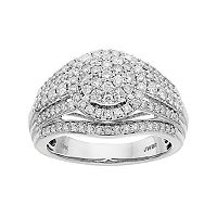 Lovemark 10k White Gold 1 Carat T.W. Diamond Cluster Engagement Ring