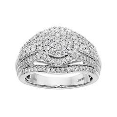 Lovemark 10k White Gold 1 Carat T.W. Diamond Cluster Engagement Ring