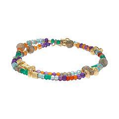 Gold Tone Gemstone Double Wrap Bracelet