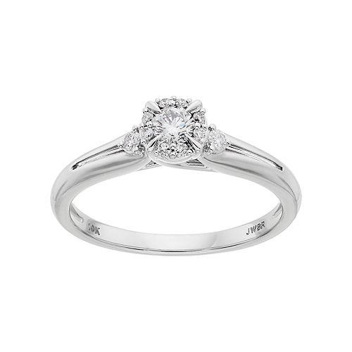 Lovemark 10k White Gold 1/4 Carat T.W. Diamond Halo Engagement Ring
