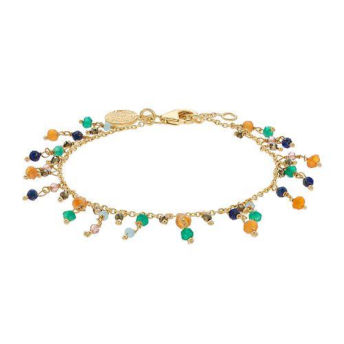 Gold Tone Gemstone Fringe Bracelet