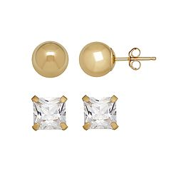 Everlasting Gold 14k Gold Cubic Zirconia Ball Stud Earring Set