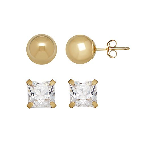 Everlasting Gold 14k Gold Cubic Zirconia Ball Stud Earring Set