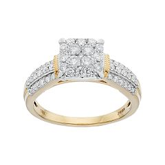 Lovemark 10k Gold 3/4 Carat T.W. Diamond Cluster Engagement Ring