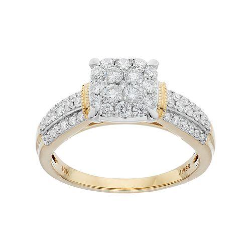 Lovemark 10k Gold 3/4 Carat T.W. Diamond Cluster Engagement Ring