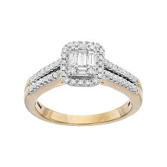 Lovemark 10k Gold 1/2 Carat T.W. Diamond Halo Engagement Ring