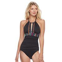 Women's Apt. 9® High-Neck Printed Trim One-Piece Swimsuit
