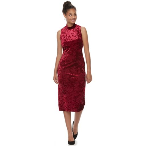 Juniors' Almost Famous Mockneck Velvet Bodycon Dress