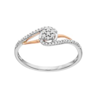 10k White Gold Two Tone 1/10 ct. T.W. Diamond Swirl Ring