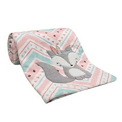 Lambs & Ivy Little Spirit Fox Chevron Blanket
