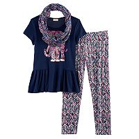 Girls 7-16 & Plus Size Self Esteem Peplum Tee, Pattern Leggings & Infinity Scarf Set
