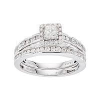 Simply Vera Vera Wang 14k White Gold 1 Carat T.W. Diamond Square Halo Engagement Ring Set