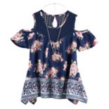 Girls 7-16 Self Esteem Cold Shoulder Woven Top with Necklace
