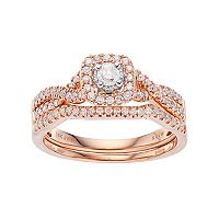 Simply Vera Vera Wang 14k Rose Gold 1/2 Carat T.W. Diamond Square Halo Engagement Ring Set