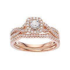 Simply Vera Vera Wang 14k Rose Gold 1/2 Carat T.W. Diamond Square Halo Engagement Ring Set