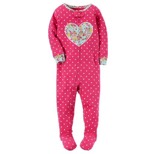 Baby Girl Carter's Floral Applique Footed Pajamas
