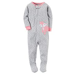 Baby Girl Carter's Applique Dotted Footed Pajamas