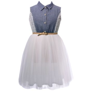 Girls 7-16 Bonnie Jean Chambray Lace Tulle Skirt Dress