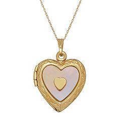 Everlasting Gold 10k Gold Mother-of-Pearl Heart Locket Necklace