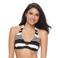 Women's Apt. 9® Striped Push-Up Halter Bikini Top