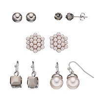 Simulated Pearl & Faceted Bead Nickel Free Earring Set
