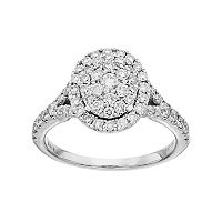 Simply Vera Vera Wang 14k White Gold 1 ct. T.W. Diamond Cluster Engagement Ring