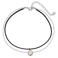 Simulated Pearl Pendant Double Strand Choker Necklace