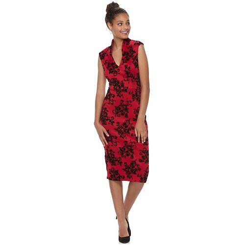 Juniors' Almost Famous Floral Ponte Bodycon Dress