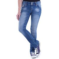 Juniors' Amethyst Double Button Baby Bootcut Jeans