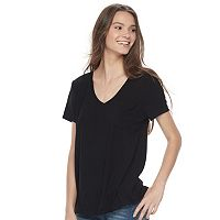 Juniors' SO® Oversized Round Hem Pocket Tee