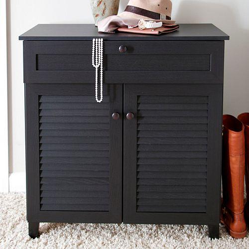 Baxton Studio Calvin Shutter Door Storage Cabinet