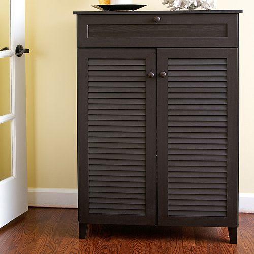 Baxton Studio Harding Shutter Door Storage Cabinet
