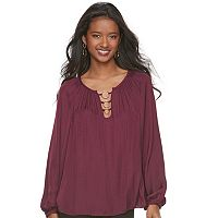 Women's Jennifer Lopez Loop Inset Peasant Top