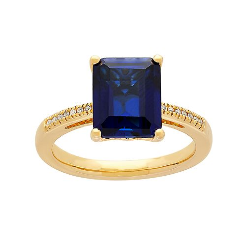 14k Gold Over Silver Lab-Created Sapphire & Diamond Accent Ring