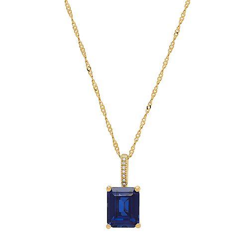 14k Gold Over Silver Lab-Created Sapphire & Diamond Accent Square Pendant Necklace