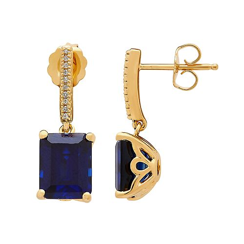 14k Gold Over Silver Lab-Created Sapphire & Diamond Accent Drop Earrings