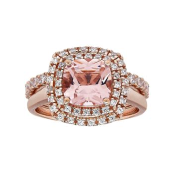 14k Rose Gold Over Silver Simulated Morganite & Cubic Zirconia Ring Set