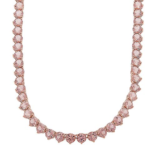 14k Rose Gold Over Silver Simulated Morganite Necklace