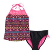 Girls 7-16 SO® Mesh Yoke Tribal Pattern Tankini Top & Bottoms Swimsuit Set