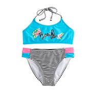 Girls 7-16 SO® 'Beach Vibes' Bikini Top & Bottoms Swimsuit Set
