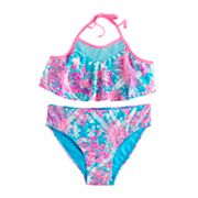 Girls 7-16 SO® Crochet Yoke Flounce Bikini Top & Bottoms Swimsuit Set